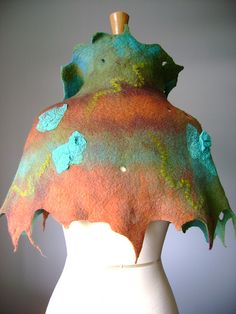 Unique Nuno Felted Couture Art cape / capelet / cloak wool silk OOAK   by VitalTemptation , Etsy