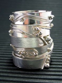 Bigib Designs: How to make sterling silver ball and wire decorated rings...