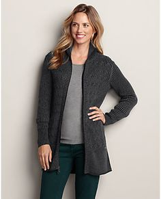 Just combined this sweater, black leggings, and new boots with bright scarf. Fun. :)  Mt. Shasta Long Cable Cardigan Sweater | Eddie Bauer