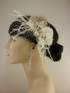 if not a vintage vail, then this. Wedding Hair Accessory Feather Fascinator Bridal by IceGreenEyes, $65.00