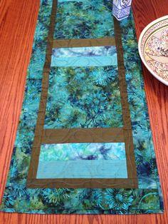 Batik Olive Caribbean Blue Table Runner by derstinedesigns on Etsy