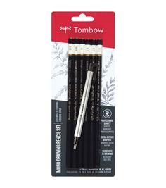 Tombow MONO Drawing Pencils 6/Pkg and Eraser Set-Black