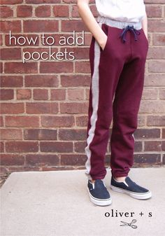 Learn how to add some pockets to the Oliver + S Parachute Sweatpants.