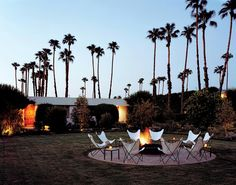 Butterfly chairs and a fire pit.  Sweet.