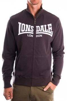 DATCHET | Lonsdale London - STYLE # LE514Z Men's Essentials Jacket with Traditional Logo. Standard fit. Model is wearing a Medium.