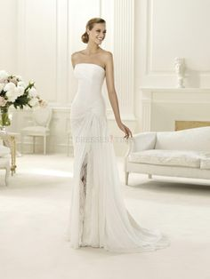 Buy Elegant Mermaid Strapless Ruched Long Chiffon Wedding Dress Under 200 WD-9216 Casual Wedding Dresses under $196.99 only in DressesTime.