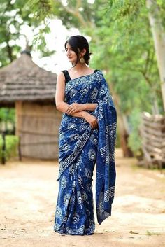 b09c0ee3037 Hand Block Printed Indigo Cotton Saree for Women With Attached Blouse   fashion  clothing
