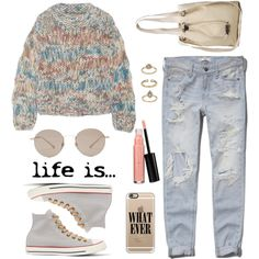 casual grunge-inspired outfit for cooler days or nights in pastel colors with ripped light blue jeans, striped jumper, high-top Converse sneakers, round shades and a gold iphone case with Nirvana-inspired text (fashion look from July 2016 by nicolesynth featuring Chloe, Abercrombie & Fitch, Converse, Topshop, Casetify, Gucci and Laura Geller)