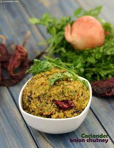 Coriander Onion Chutney recipe | Idli Recipes, Dosa Recipes | by Tarla Dalal | http://Tarladalal.com | #1655