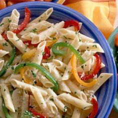 Market Peppers & Pasta: crisp, colorful peppers give color and flavor to this vegetarian main dish recipe.