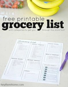 free grocery shopping printable