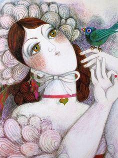 Moça com passarinho, de Jocelyne Pache, 1969.