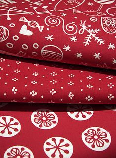 red and white holiday textiles