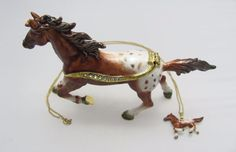 New Trinket Box Gift Crystals Brown White Appaloosa Horse Animal Necklace