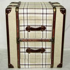 Canvas Cream Check 2 Drawer Trunk Chest or Bedside Table – Allissias Attic & Vintage French Style