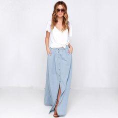 I would love a light/long  denim skrt Light Blue Denim Maxi Skirt