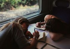 Keeping a notebook. #ideas #writing #poems #notes #drawings #art #girls #train