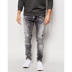 Kubban Biker Jean Black Acid Wash ($49) ❤ liked on Polyvore featuring men's fashion, men's clothing, men's jeans, grey, mens acid wash jeans, mens gray jeans and mens grey jeans