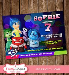 INSIDE OUT invitation Card Party Invite Birthday Card Inside Out LL-0079