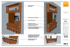 drop zone -  a shelf for mail and sunglasses, a message center, a charging station for tablets and phones, and hooks for keys; shop drawing 2 of 2