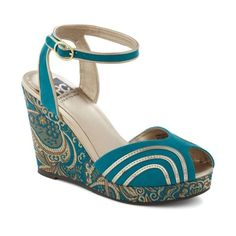 Dream Closet / Paisley the Town Wedge by BC Shoes - Wedge, Blue, Gold,... ❤ liked on Polyvore