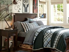 Get inspired with teen bedroom decorating ideas & decor from Pottery Barn Teen. From videos to exclusive collections, accessorize your dorm room in your unique style. Teen Boy Rooms, Teen Boy Bedding, Teen Boys, Boy Bedrooms, Teen Guy Bedroom, Toddler Boys, Modern Teen Bedrooms, 2 Boys, Bed Rooms