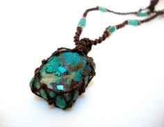 Organic petite turquoise macrame Necklace Stone by EarthCultured