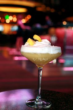Made with Belvedere Citrus Vodka, Limoncello, Lemon Juice and Simple Syrup, topped with coconut foam, the Drop Top is like an adult version of Lemon Meringue pie.