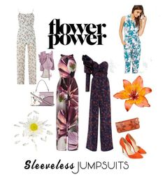 """flower power jumpsuit"" by lillialessandra ❤ liked on Polyvore featuring Coast, Tenki, Miss Selfridge, Johanna Ortiz, Valentino, Kate Marie, Jeffrey Campbell, JustFab and sleevelessjumpsuits"