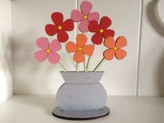 Wooden Flowers  Vase Of Flowers  Bouquet Of by SarahsPrettyPlaques