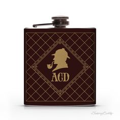 "Sherlock Holmes Personalized Monogram  6oz or 8oz by DrinkingBuddy on Etsy. #flasks www.LiquorList.com ""The Marketplace for Adults with Taste!"" @LiquorListcom  #LiquorList"