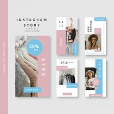 Shop Story, Sales Image, Instagram Story Template, Instagram Shop, Insta Story, Pink Blue, Vector Free, Templates, Stock Photos