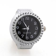 Ring Watch Quartz Silver Alloy Black Sphere for Women Dame I3N2  | eBay