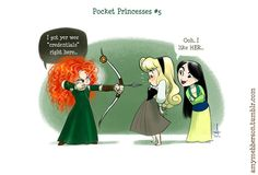 Pocket Princesses by Amy Mebberson  # 5- If Disney princesses lived together: Merida, Aurora, and Mulan