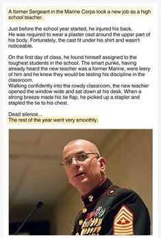 A former Sergeant in the Marine Corps took a new job as a high school teacher. Military Jokes, Army Humor, Pilot Humor, Humor Militar, Funny Jokes, Funny Stuff, Funniest Memes, That's Hilarious, Spongebob Memes