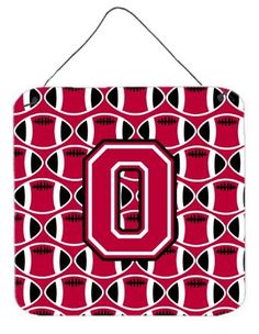 Letter O Football Crimson and White Wall or Door Hanging Prints CJ1079-ODS66