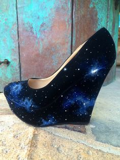 One of a kind hand painted galaxy heels.    No body else will have these because each shoe is painted differently no 2 being the same!     These