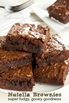 For a super fudgy treat, indulge in these gooey Nutella brownies! Best brownies ever! Bakerette.com
