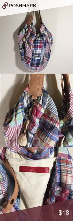 "Tommy Hilfiger Madras Plaid Patchwork Bag Purse Great pre-loved condition. Length - at the widest part 22"" Height - 15"" Item #924 Tommy Hilfiger Bags Shoulder Bags"
