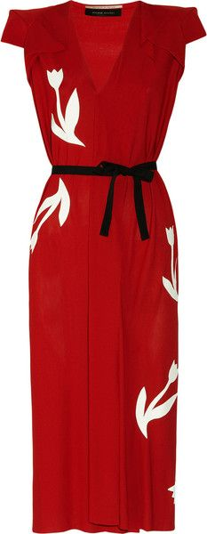 Roland Mouret. Perfect. beautiful red dress with black and white accents