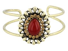 Make a fashion statementr with this bold and beautiful cuff! - Katy Richards (Tm) Imitation Coral Antiqued Gold Tone Cuff
