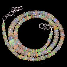 """55CRTS 3to7MM 18"""" ETHIOPIAN OPAL FACETED RONDELLE BEADS NECKLACE OBI3135 #OPALBEADSINDIA"""