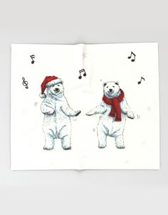 """The polar bears wish you a Merry Christmas"" Throw Blanket by Savousepate on Society6 #throwblanket #homedecor #drawing #xmas #christmas #polarbear #music #dancing #funny #cute"
