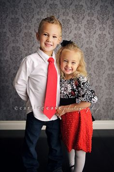 Brother and Sister Matching Red and Black Outfits Girl's Ruffle Peasant Dress and Matching Boy's Necktie
