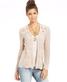 ead3903e0660 American Rag Pointelle-Knit Lace-Panel Cardigan Juniors - Sweaters - Macy s