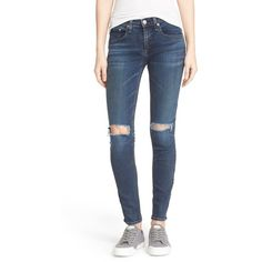 Women's Rag & Bone/jean Ripped Knee Skinny Jeans ($250) ❤ liked on Polyvore featuring jeans, vashon, distressing jeans, destroyed denim skinny jeans, destroyed jeans, distressed skinny jeans and destroyed skinny jeans