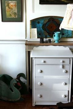 Simple White Dresser-1930's Swan Rocker