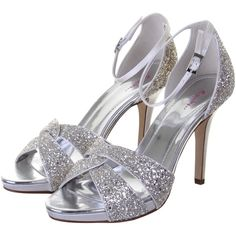 Rainbow Club Charlotte Glitter Stiletto Sandals, Silver (425 PEN) ❤ liked on Polyvore featuring shoes, sandals, heels, silver glitter sandals, silver sandals, low heel sandals, high heels stilettos and silver flat shoes