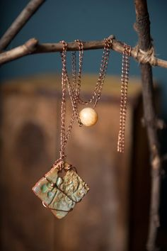 Ceramic jewelry handmade pendant wire wrapped square by gloriafaye, $45.00