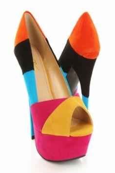 Fuchsia Faux Suede Upper Color Block Peep Toe Tall Pump Platform Heels